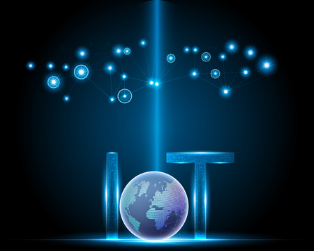 Internet of things (IOT) concept,light letter text symbol with Global data center, Blue background with data network center