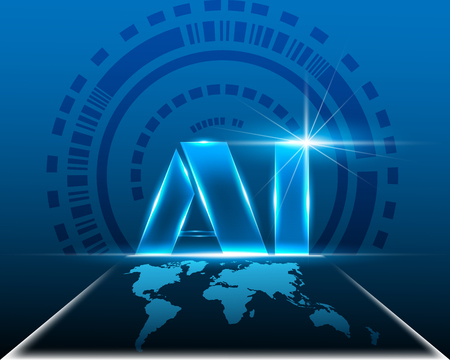 AI Digital  Artificial intelligence with World map cyber digital system concept.Vector illustration