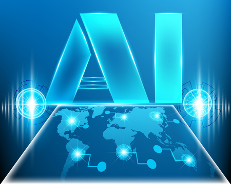 AI Letter Digital Artificial intelligence with World map cyber line digital and big data business system concept.Vector illustration EPS10
