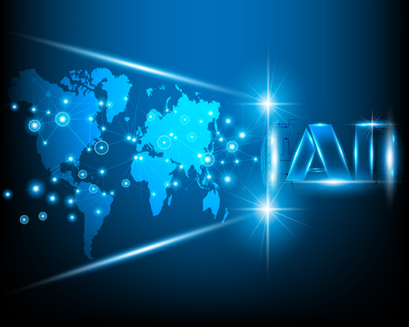 AI Letter Digital Artificial intelligence with World map cyber line digital and big data business system concept.Vector illustration EPS10 Vecteurs