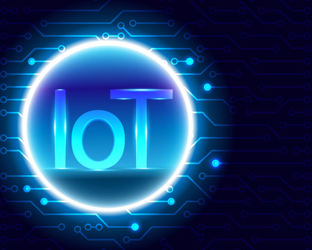 Internet of things (IOT) technology and circuit symbols cyber data internet network connection business concept.Vector illustration EPS10