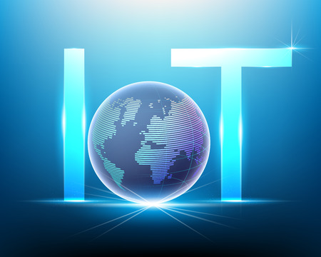 logo Internet of things (IOT) technology and Global worldwide point cyber data internet network connection business concept.Vector illustration Banque d'images - 108568841