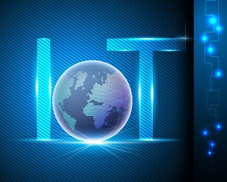 Technologie Internet des objets (IOT) et concept d'entreprise de connexion réseau Internet de point mondial de point mondial Illustration vectorielle EPS10