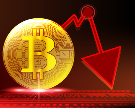 Golden bitcoin crash graph in cycles panic sell indicator concept. Vector illustration