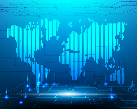 World map cyber system transformation internet fiber optic cable network connection business zone online .Vector illustration EPS10 Vector Illustration