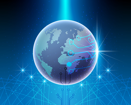 Global World map cyber system transformation network connection business .Vector illustration