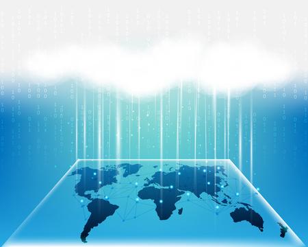 World Map cloud bigdata information network quality system.vector illustration EPS10 矢量图像