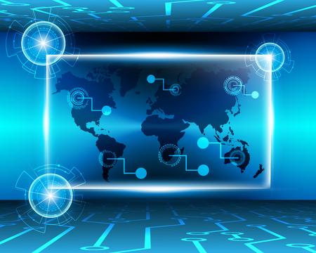 Worldmap cyber digital online system business zone concept.Vector illustration