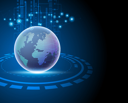 Connexion au réseau Internet mondial mondial 3D Big Data Information Technology reliant les concepts de modèle d'entreprise. Illustration vectorielle eps10