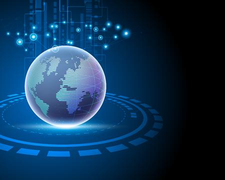 Tecnología de la información de big data de conexión de red mundial de Internet mundial 3D que conecta conceptos de modelo de negocio. Ilustración vectorial eps10