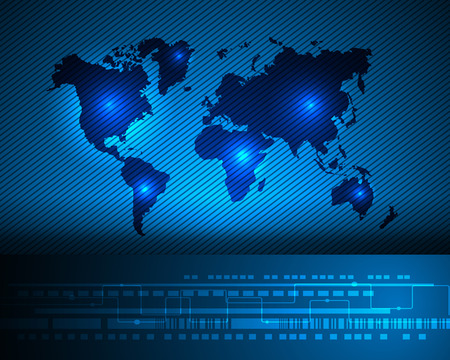 Worldmap cyber digital online system business zone concept.Vector illustration Illustration