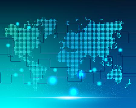 Mappa del mondo cyber bigdata trasformazione connessione di rete internet zona business online .illustrazione vettoriale EPS10