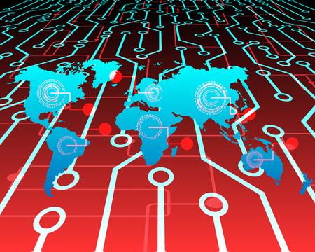 World map Cyber attack by hacker crisis concept background.vector illustration Ilustração