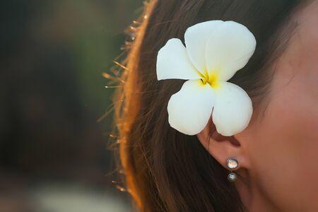 Weiße Frangipani-Blume Plumeria hinter dem Ohr der Brünette.