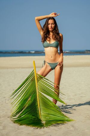 sexy slender long leggy brunett photo model on the beach with palms and blue sky.woman in a green swimsuit posing in a tropical paradise.female sunscreen summer vacation belly button navel piercing
