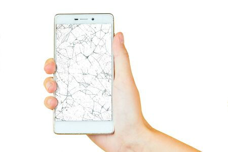 hand on a yellow background holding a phone with a broken screen isolated