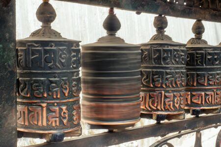 Tibetan wooden drums with prayers. concept of tourism and religion. Nepal Himalayas 写真素材