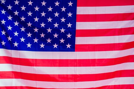 big Happy child with American flag on pink background.. Banco de Imagens