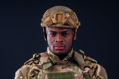 afro american man in camouflage suit sorrow Stockfoto