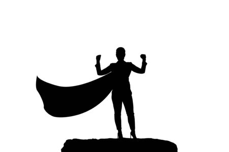 silhouette of a business woman superhero with a cloak standing on top of a mountain