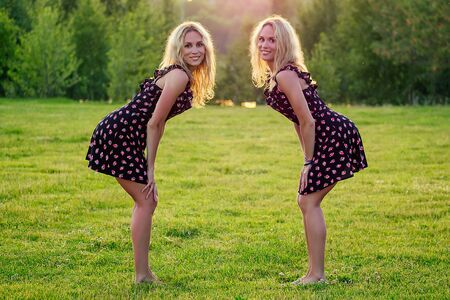 two funny sisters twins beautiful curly blonde happy young toothy smile woman in stylish dress have fun in the summer park sunset rays field background