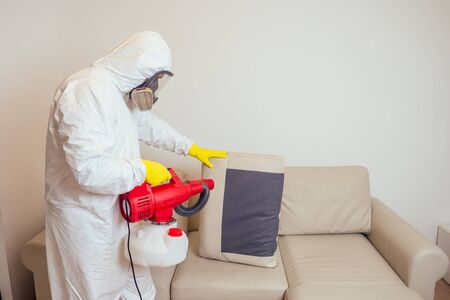 pest control worker in uniform spraying pesticides under couch in living lounge room Archivio Fotografico