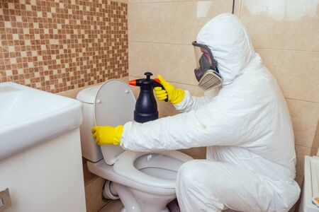 pest control worker spraying pesticides with sprayer in bathroom:processing the toilet and shower Banque d'images - 133688185
