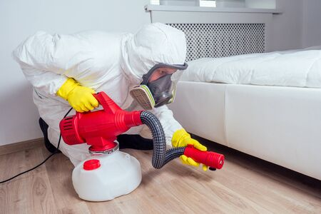 Trabajador de control de plagas tirado en el suelo y rociando pesticidas en el dormitorio Foto de archivo