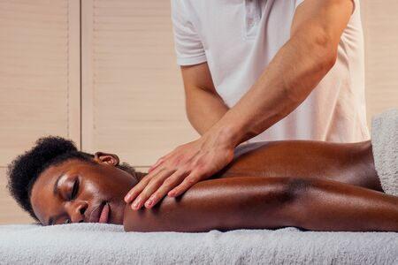 female getting professional medical manual therapy. Stockfoto