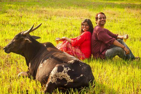 happy indian couple in love sitting on field near cow,drinking cane juice in Goa farm