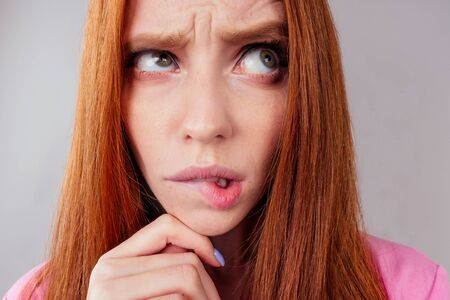 redhair ginger woman feeling unhappy love or beak up with boyfriend concept Stock Photo