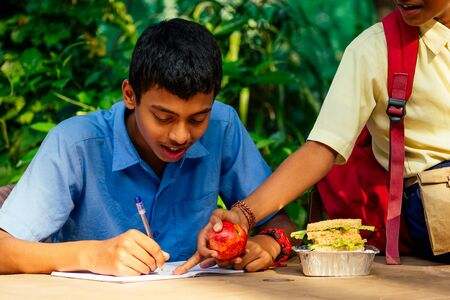 indian school boy writing on notepad doing homework , looking concentration . His friend with backpack sits on table and eating an apple in park