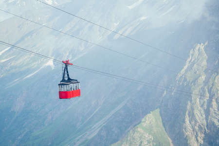 amazing beautiful view in Elbrus on the background of the cable car