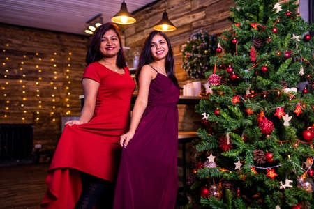 indian sisters fashion portrait of pretty young best friends celebrating Christmas party