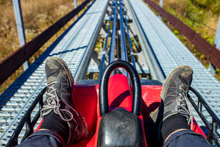 Fast ride rodelbahn in autumn beautiful landscapes in Russia Sochi Krasnaya Polyana Banque d'images