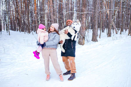 mixed race family in threesome spending new year holidays in park with their husky dog 免版税图像