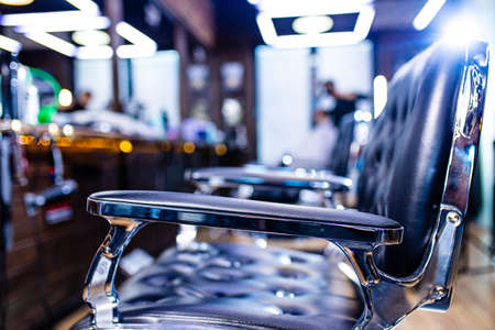 workplace of the hairdresser barber chair in interior 版權商用圖片