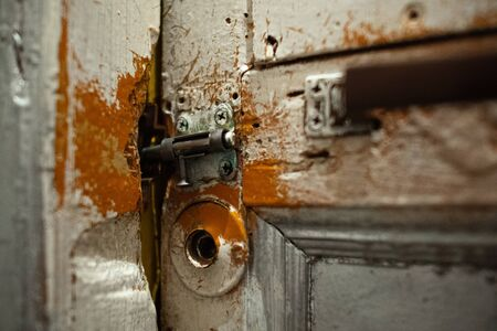 Old Vintage Shabby Cracked Painted Door With A Latch Lock