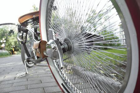 Vintage custom bicycle hub wheel close up