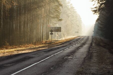 Beautiful colorful morning mood on an old forest road with broken asphalt Stock Photo