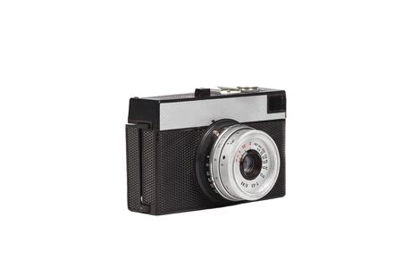 old fashioned: old fashioned vintage film camera isolated on white background
