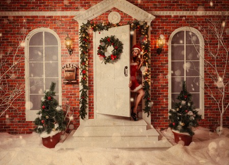 old time: Old time postcard with beautiful attractive woman in xmas theme outdoor