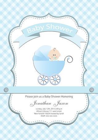 赤ちゃん男の子ベビー シャワーの招待状カード  イラスト・ベクター素材