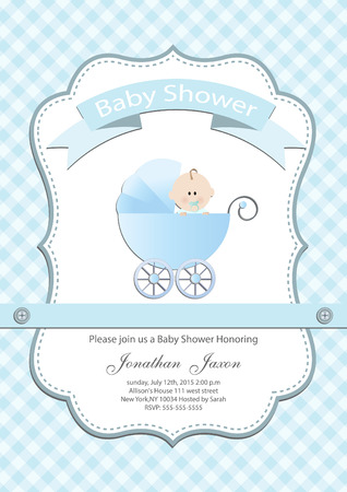 Baby boy baby shower invitation card Vector
