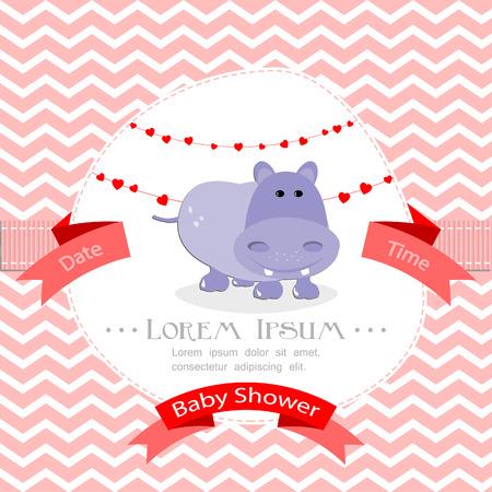 child birth: Baby shower invitation for girl Illustration