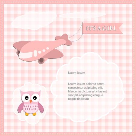 Baby shower card for girl Vector