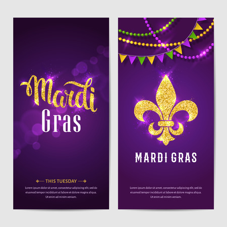 Mardi gras brochures. Vector with hand drawn lettering and golden fat tuesday symbols. Greeting card with shining beads on traditional colors background.
