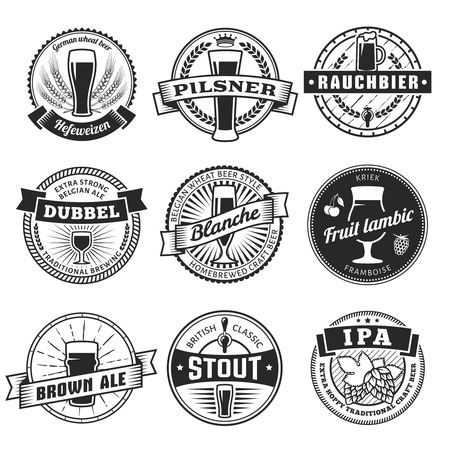 stout: Craft beer labels. Traditional german, belgian and british beer styles. Weissbier, pilsner, rauchbier, dubbel, blanche, fruit lambic, brown ale, stout and IPA. Vintage craft beer emblems. Illustration