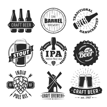 Vector craft beer badges. Set of vintage craft beer logos and labels. Stock Vector - 70445778