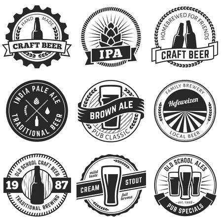 Set of vintage craft beer labels and emblems. Vector beer badges